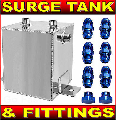 Fuel Surge Tank With Fittings - 2.5 Litres Polished Alloy Fuel Surge Tank