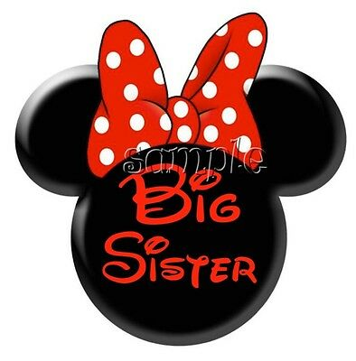 IRON ON TRANSFER BIG SISTER MInnie MOUSE #3 12x12cm