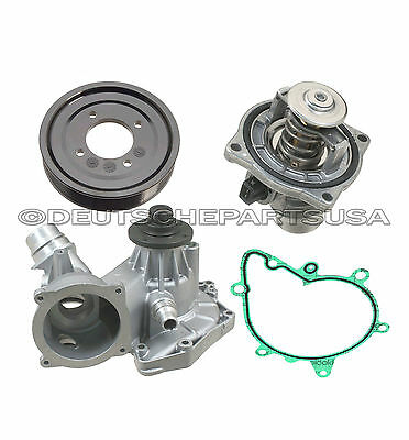 WATER PUMP GASKET ALUMINIUM PULLEY + Thermostat Kit for BMW E31 E38 540i X5 Z8