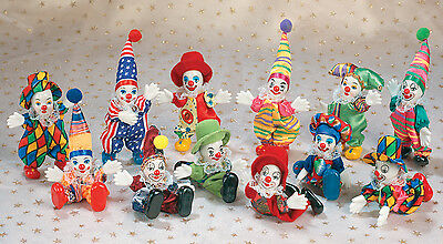 12 Piece Circus Clown Assorted Posable Figurine Collection Miniature(#1705)