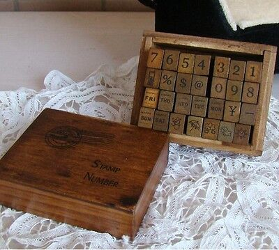 Korea Antique Number Weather Day Wood Mounted Rubber Stamp Box Set- 28 Pieces