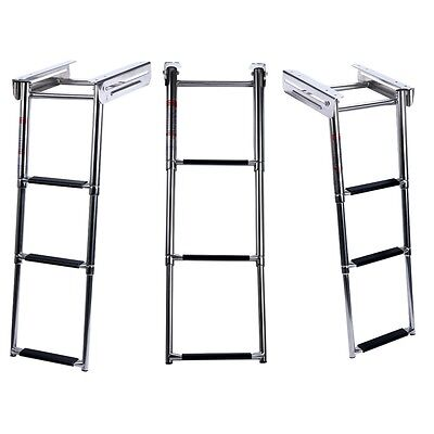 New 3-Step Under Platform Boat Boarding Ladder, Telescoping, Stainless Steel