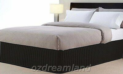 Queen Bed QB Size Ardor Boudoir Classic Quilted Valance - Black