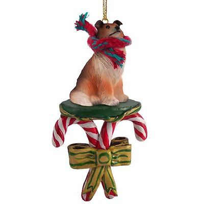 COLLIE Sable Dog Candy Cane Christmas Tree ORNAMENT