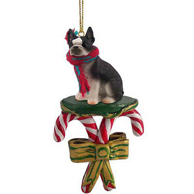 BOSTON TERRIER Dog Candy Cane Christmas Tree ORNAMENT