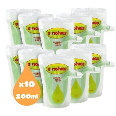 NEW Sinchies 200ml Reusable Food Pouches BPA Free Pack of 10  Free Postage!
