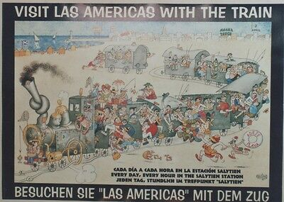 """VISIT LAS AMERICAS WITH THE TRAIN"" Affiche originale entoilée DUBOUT 70x51cm"