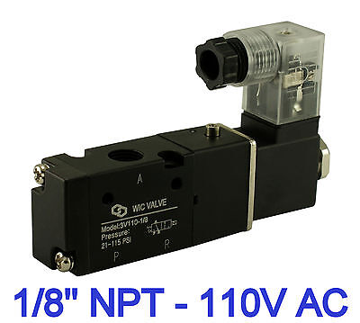 """1/8"""" Inch Pneumatic 3 Way Electric Directional Control Solenoid Valve 110V AC"""