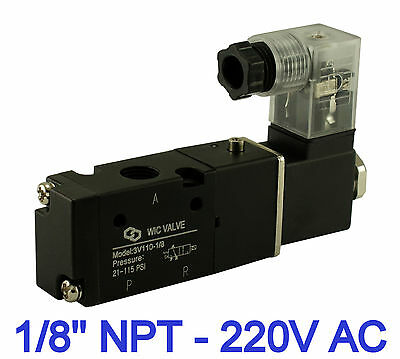 """1/8"""" Inch Pneumatic 3 Way Electric Directional Control Solenoid Valve 220V AC"""