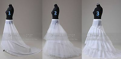 White 2-HOOP/3-HOOP Train Wedding Dress Bridal Promo Crinoline Petticoat Slip