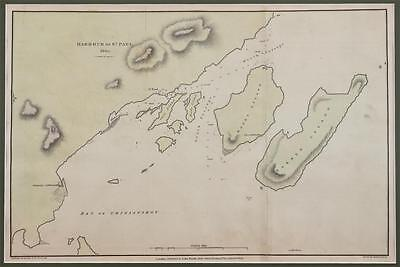 MAP of HARBOUR OF ST. PAUL 1805 - 1814 Hand Coloured COPPER ENGRAVED
