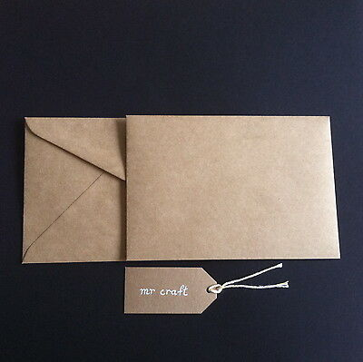 20 Brown Kraft Card 225gsm unsocred AND 20 C6 ENVELOPES Card Envelope Pack