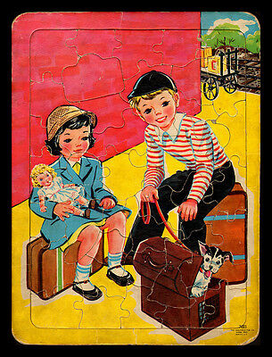 VINTAGE 1940'S SAALFIELD BOY AND GIRL WAITING TRAY PUZZLE -VERY GOOD! !