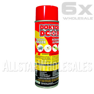 6x Cans Doktor Doom Total Release Fogger Pest Control Whiteflies 12.5oz Ounce