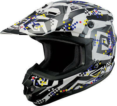 "GMAX GM76X Crazy ""G"" Adult Motocross/Off-Road/Dirt Bike Motorcycle Helmet - Whit"