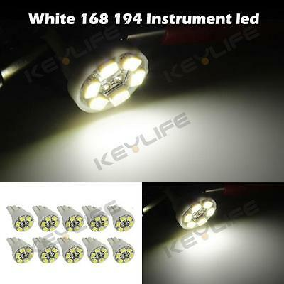 10x White T10 Wedge 158 161 194 W5W Bulb LED Dome Instrument Car Light Bulb Lamp