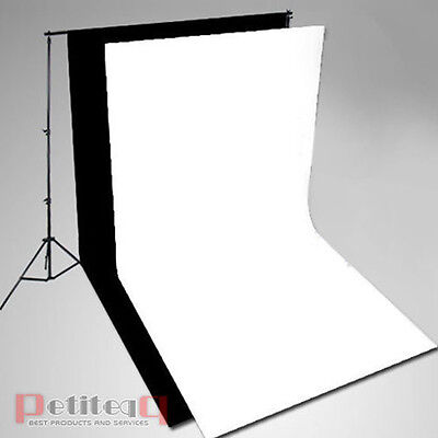 3x6m Black White Muslin Cotton Backdrop Background +3x2.8m Support Stand Kit