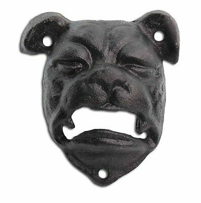 Bottle Opener Cast Iron Bull Dog Head Black Wall Mounted Bar Beer Opener