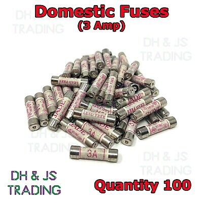 100x 3a Domestic Fuses Plug Top Household Mains 3amp Cartridge Fuse