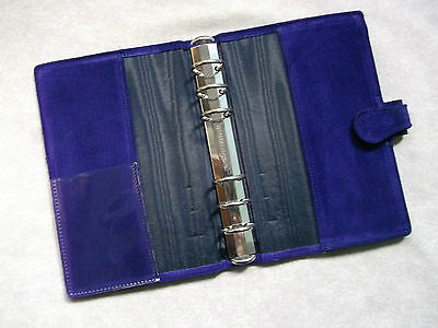 Dark Purple Suede Leather Personal File London Organiser Wallet Diary Cards New
