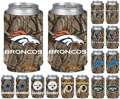 NFL Football Vista Hunting Camo Insulated Can Holder Koozie - 2 Pack- Pick Team!
