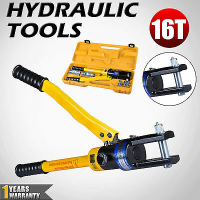 11 Dies 16 Ton Hydraulic Crimper 16-300mm Cable Plier Crimping Tool Kit