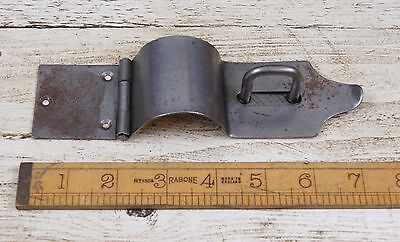 SINGLE IRON CASE HASP & STAPLE Bull Nose Antique Iron 175mm with Screws
