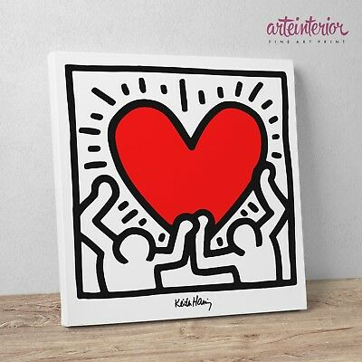 "Keith Haring ""Figures with Heart"" Stampa HR su tela Canvas Quadro Moderno Cuore"