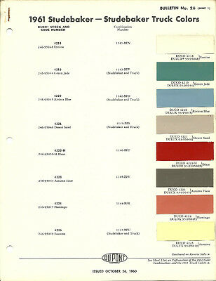 1961 STUDEBAKER/TRUCK Color Chip Paint Sample Brochure/Chart: DuPont, Du Pont