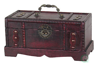 Antique Wooden Trunk, Old Treasure Chest - Small