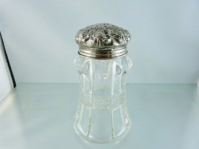 VICTORIAN PRESSED GLASS SUGAR SHAKER SILVER PLATE CAP BY unknown MAKER