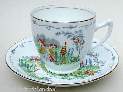 Vintage English Staffordshire Bone China Secret Garden Tea Cups & Saucers in VGC