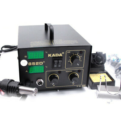 2 IN 1 SMD SMT SOLDERING REWORK STATION Welder HOT AIR 110V IRON KADA 852D+