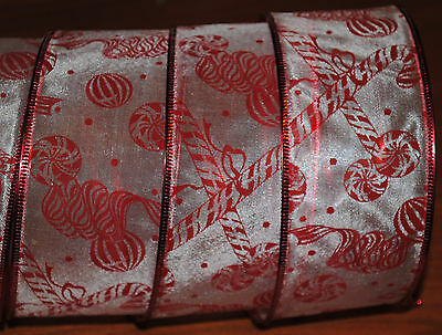 Wired Ribbon~SemiSheer~Christmas Candy Cane~Peppermint~Red~Wreath~Holiday~Bow