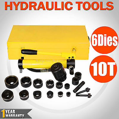10 Ton 6 Die Hydraulic Hand Pump Knockout Hole Punch Kit Metal 22-60.5mm