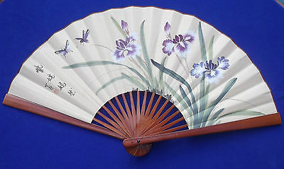 """Vintage Oriental Chinese 36"""" Hand Fan W/ Hand Painted Flowers Butterflies Signed"""