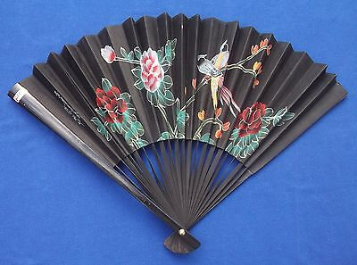 """Vintage Oriental Chinese Black 30"""" Hand Fan With Painted Birds & Flowers Signed?"""