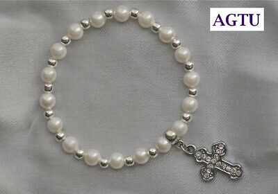 First Holy Communion Confirmation Silver Pearl Bracelet Reconciliation Gift