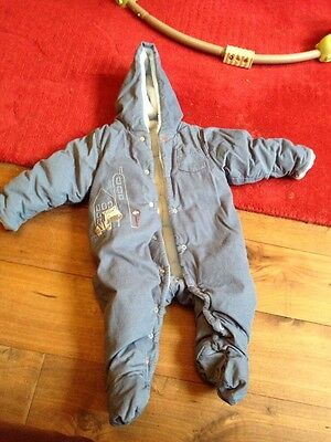 M&S Blue Thick All In One Snowsuit 6-9 Months