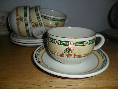 STAFFORDSHIRE BALUSTRADE CUPS AND SAUCERS - nibble to the edge of one saucer
