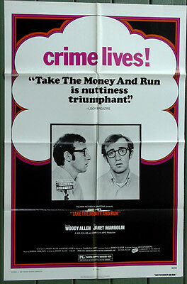 Take the Money and Run 1969 Original US One Sheet Movie Poster Woody Allen