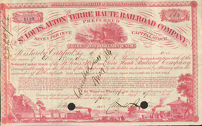 1850/'s Terre Haute /& Alton Railroad Company Stock Certificate Pre Civil War
