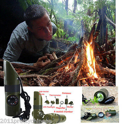 7 in 1 Outdoor Survival Whistle Torch Compass Thermometer Flashlight Magnifier