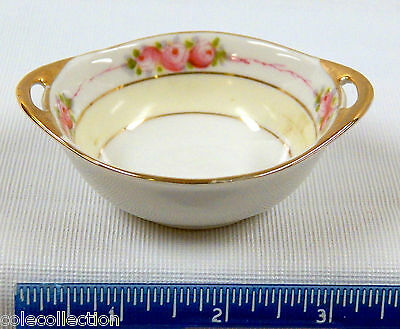 Pair of Small Nippon Hand Painted Dishes with Handles & Gold Trim, Pink Flowers