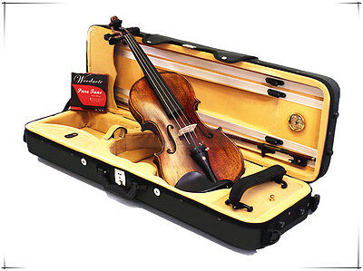 A 4/4 Antique Style Violin with Square Shape Case/Bow/Rosin/Free String Set