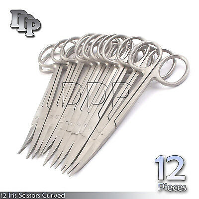 "12 Iris Scissors 4.5"" Curved Surgical Dental Instruments"