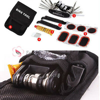Bike Bicyle Cycle Puncture Multi Function Tool Repair Kit Set With Pouch