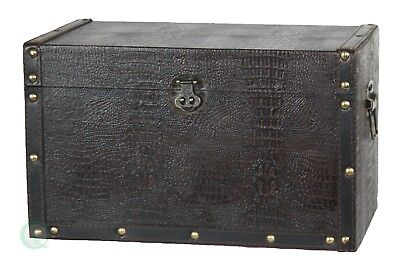 New Vintiquewise Decorative Leather Wooden Trunk, QI003007
