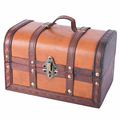 Decorative Wood Leather Treasure Box - Small Trunk Chest