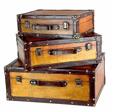New Vintiquewise Old Vintage Suitcase Set of 3, QI003057.3
